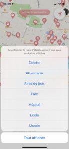 Catégories de lieu pouvant être cherchées sur l'app